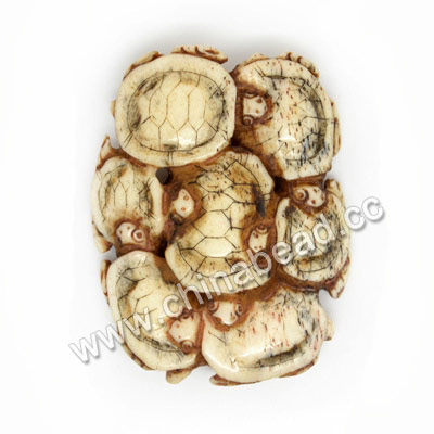 Carved Bone Pendants, Antique, Group Turtles/tortoises Animal Scrimshaw, Oval, Approx 47x37x6mm, Hole: Approx 2mm, Sold by PCS
