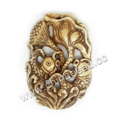 Carved Bone Pendants, Antique, Lotus Leaf & Fish Animal, Oval, Approx 50x35x6mm, Hole: Approx 2mm, Sold by PCS