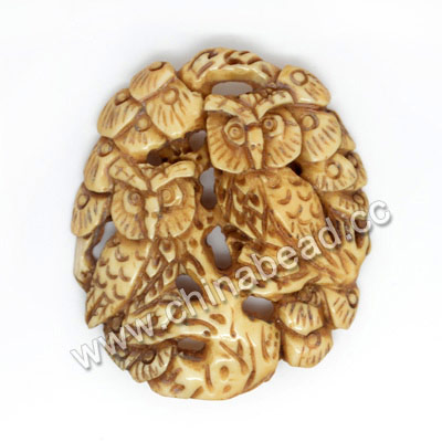Carved Bone Pendants, Antique, Pine Tree & Owl Animal Scrimshawl, Oval, Approx 42x36x5mm, Hole: Approx 2mm, Sold by PCS