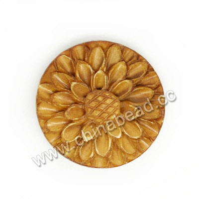 Carved Bone Beads, Brown, Flower, Approx 24x7mm, Hole: Approx 2mm, Sold by PCS