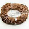 Cord Thread & Wire, Round Leather Cord, Color #1 Lt. brown, Approx 2.5mm, 100 yards per bundle, Sold by bundles
