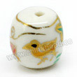 Handpainted Porcelain Beads, White, Chicken animal purple grape, Gold decoration, Drum or Barrel, Approx 12x11mm, Hole: Approx 2mm, Sold by PCS
