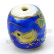 Handpainted Porcelain Beads, Royal blue, Chicken animal purple grape, Gold decoration, Drum or Barrel, Approx 12x11mm, Hole: Approx 2mm, Sold by PCS