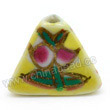 Handpainted Porcelain Beads, Yellow, Pink peach, Gold decoration, Pyramid, Approx 16x12mm, Hole: Approx 2mm, Sold by PCS