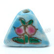 Handpainted Porcelain Beads, Sky blue, Pink peach, Gold decoration, Pyramid, Approx 16x12mm, Hole: Approx 2mm, Sold by PCS