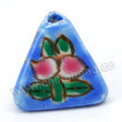 Handpainted Porcelain Beads, Blue, Pink peach, Gold decoration, Pyramid, Approx 16x12mm, Hole: Approx 2mm, Sold by PCS
