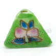 Handpainted Porcelain Beads, Green yellow, Pink peach, Gold decoration, Pyramid, Approx 16x12mm, Hole: Approx 2mm, Sold by PCS