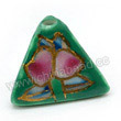 Handpainted Porcelain Beads, Green, Pink peach, Gold decoration, Pyramid, Approx 16x12mm, Hole: Approx 2mm, Sold by PCS