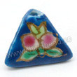 Handpainted Porcelain Beads, Dark teal, Pink peach, Gold decoration, Pyramid, Approx 16x12mm, Hole: Approx 2mm, Sold by PCS