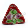 Handpainted Porcelain Beads, Red, Pink peach, Gold decoration, Pyramid, Approx 16x12mm, Hole: Approx 2mm, Sold by PCS