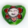 Handpainted Porcelain Beads, Green, Smile face of red flower, Heart, Approx 12x10x7mm, Hole: Approx 2mm, Sold by PCS