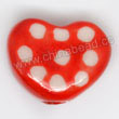 Handpainted Porcelain Beads, Red, White dots, Heart, Approx 15x12x6mm, Hole: Approx 2mm, Sold by PCS