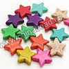 Gemstone Beads, Howlite, Multi-colored, Star, Approx 20x20x6mm, Hole: Approx 1-2mm, 20 pcs per strand, Sold by strands