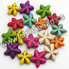 Gemstone Beads, Howlite, Multi-colored, Puffy star, Approx 20x20x8mm, Hole: Approx 1-2mm, 20 pcs per strand, Sold by strands