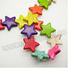 Gemstone Beads, Howlite, Multi-colored, Star, Approx 25x25x6mm, Hole: Approx 1-2mm, 19 pcs per strand, Sold by strands