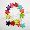 Gemstone Beads, Howlite, Multi-colored, Star, Approx 30x30x6mm, Hole: Approx 1-2mm, 16 pcs per strand, Sold by strands