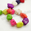 Gemstone Beads, Howlite, Multi-colored, Nugget, Approx 16x14mm, Hole: Approx 1-2mm, 26 pcs per strand, Sold by strands