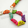 Gemstone Beads, Howlite, Multi-colored, Moon-face, Approx 17x9x6mm, Hole: Approx 1-2mm, 27 pcs per strand, Sold by strands