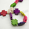 Gemstone Beads, Howlite, Multi-colored, Cross, Approx 20x20x5mm, Hole: Approx 1-2mm, 20 pcs per strand, Sold by strands