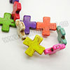 Gemstone Beads, Howlite, Multi-colored, Cross, Approx 30x30x6mm, Hole: Approx 1-2mm, 13 pcs per strand, Sold by strands
