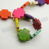 Gemstone Beads, Howlite, Multi-colored, Cross, Approx 26x26x6mm, Hole: Approx 1-2mm, 15 pcs per strand, Sold by strands