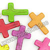 Gemstone Beads, Howlite, Multi-colored, Cross, Approx 25x18x5mm, Hole: Approx 1-2mm, 16 pcs per strand, Sold by strands