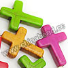 Gemstone Beads, Howlite, Multi-colored, Cross, Approx 30x20x6mm, Hole: Approx 1-2mm, 13 pcs per strand, Sold by strands