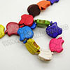 Gemstone Beads, Howlite, Multi-colored, Apple, Approx 20x20x6mm, Hole: Approx 1-2mm, 22 pcs per strand, Sold by strands