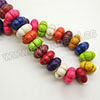 Gemstone Beads, Howlite, Multi-colored, Pumpkin, Approx 14x7mm, Hole: Approx 1-2mm, 57 pcs per strand, Sold by strands