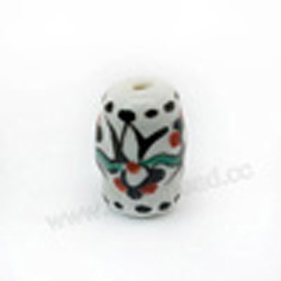Handpainted Porcelain Beads, White, Flower, Drum or Barrel, Approx 18x12mm, Hole: Approx 2mm, Sold by PCS