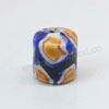 Handpainted Porcelain Beads, Royal blue, Yellow round circle, Drum or Barrel, Approx 12x11mm, Hole: Approx 2mm, Sold by PCS