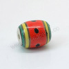 Handpainted Porcelain Beads, Red, Red watermelon, Drum or Barrel, Approx 14x12mm, Hole: Approx 2mm, Sold by PCS
