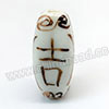 Handpainted Porcelain Beads, White, Longevity Auspicious Chinese symbol, Four faceted tube, Tube, Approx 25x11mm, Hole: Approx 2mm, Sold by PCS