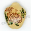 "Handpainted Porcelain Beads, Light camel, Flower ""The Blooms of Wealth"" Chinese symbol, Flat, Vase, Approx 27x22x10mm, Hole: Approx 2mm, Sold by PCS"