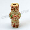 Handpainted Porcelain Beads, Light camel, Little flower, Vase, Approx 30x10mm, Hole: Approx 2mm, Sold by PCS