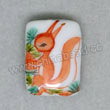 Handpainted Porcelain Beads, White, Lovely squirrel animal green pine tree, Puffy rectangle, Rectangle, Approx 17x12x6mm, Hole: Approx 2mm, Sold by PCS