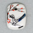 Handpainted Porcelain Beads, White, Red wintersweet flower black magpie bird animal, Rectangle, Approx 21x15x4mm, Hole: Approx 2mm, Sold by PCS