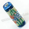 Handpainted Porcelain Beads, Citron yellow, Blue dots and abstract painting, Rectangle, Approx 23x8mm, Hole: Approx 2mm, Sold by PCS