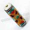 Handpainted Porcelain Beads, Camel, Blue dots and abstract painting, Rectangle, Approx 23x8mm, Hole: Approx 2mm, Sold by PCS