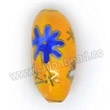 Handpainted Porcelain Beads, Yellow, Star moon, Gold decoration, Twisted oval, Approx 24x12x12mm, Hole: Approx 2mm, Sold by PCS