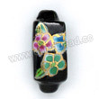 Handpainted Porcelain Beads, Black, Pink blue green flower, Gold decoration, Rectangle, Approx 25x10x10mm, Hole: Approx 2mm, Sold by PCS
