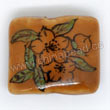 Handpainted Porcelain Beads, Light camel, Booming flower, Puffy rectangle, Rectangle, Approx 20x17x8mm, Hole: Approx 2mm, Sold by PCS