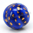 Handpainted Porcelain Beads, Royal blue, Gold dots decoration, Twisted, Approx 15mm, Hole: Approx 2mm, Sold by PCS