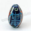 Handpainted Porcelain Beads, Blue ink, Longevity Chinese symbol, Twisted, Approx 15x9mm, Hole: Approx 2mm, Sold by PCS