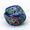 Handpainted Porcelain Beads, Blue ink, Orange violet flower, Twisted, Approx 14x11mm, Hole: Approx 2mm, Sold by PCS