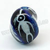 Handpainted Porcelain Beads, Blue ink, Flying bird animal, Twisted, Approx 14x11mm, Hole: Approx 2mm, Sold by PCS