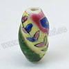 Handpainted Porcelain Beads, Colorful, Leaf, Twisted, Approx 21x11mm, Hole: Approx 2mm, Sold by PCS