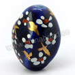 Handpainted Porcelain Beads, Blue ink, White wintersweet flower, Gold decoration, Twisted, Approx 15x10x10mm, Hole: Approx 2mm, Sold by PCS