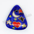 Handpainted Porcelain Beads, Royal blue, Moon star heart, Triangle, Approx 25x22x7mm, Hole: Approx 2mm, Sold by PCS
