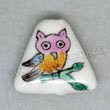 Handpainted Porcelain Beads, White, Colorful owl animal, Triangle, Approx 17x16x5mm, Hole: Approx 2mm, Sold by PCS
